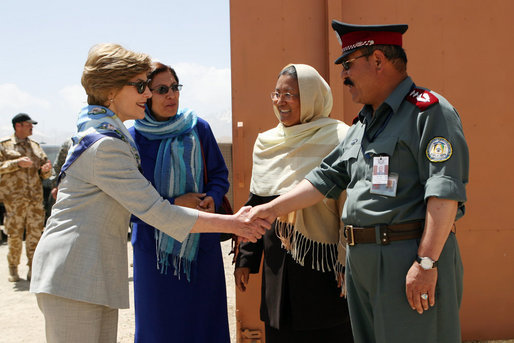 Laura Bush with Afghan National Police in 2008