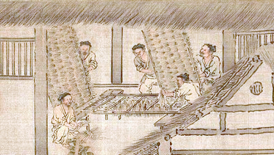 Men preparing twig frames where silkworms will spin cocoons (Sericulture by Liang Kai, 1200s)