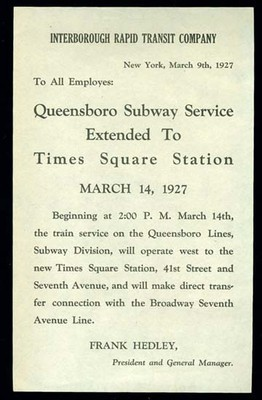 Queensboro Subway Service Extended To Times Square Station 1927