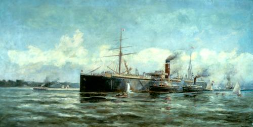 StateLibQld 1 305586 Frederick Elliott's painting, The Departure of the SS Cornwall