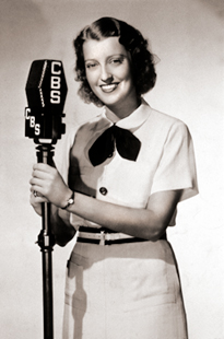 Jeanette MacDonald and a CBS Radio microphone in 1937