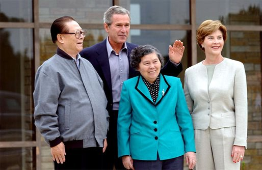 Jiang zemin with wife bush with laura