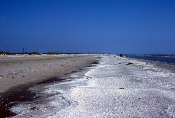 Wide natural beach near Sabine Pass