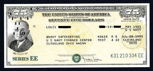 US Savings Bond EE $75