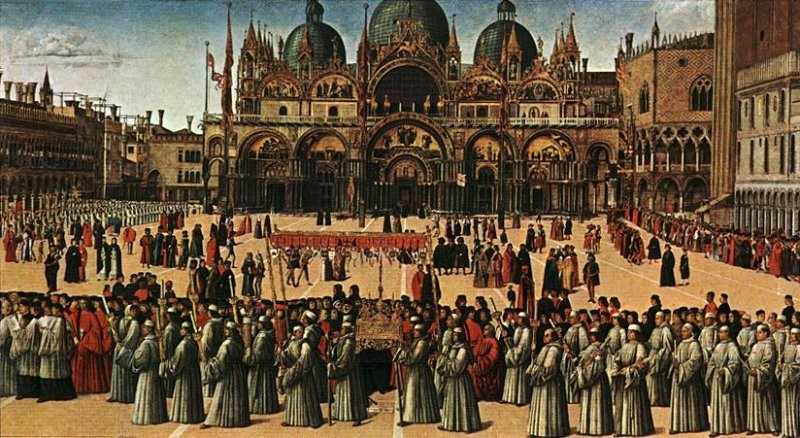 Bellini True Cross procession Venice 15thC