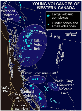 Young volcanoes of western Canada