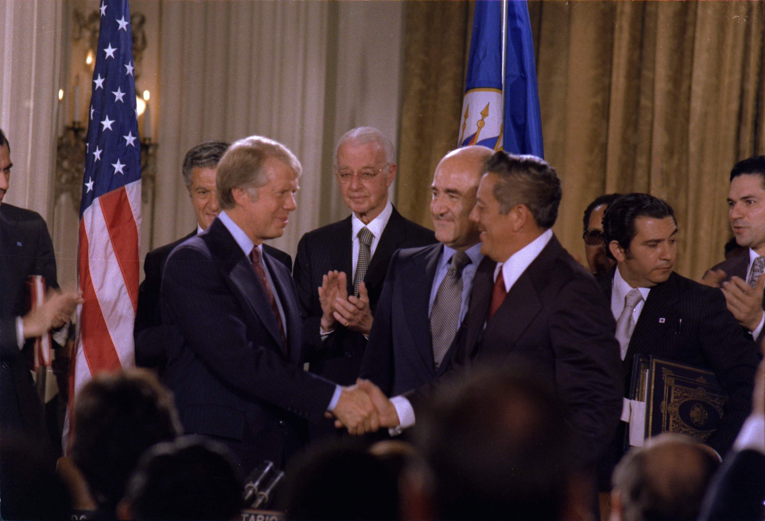 Jimmy Carter and General Omar Torrijos signing the Panama Canal Treaty