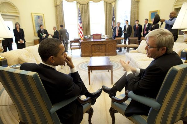 Barack Obama & Kevin Rudd in the Oval Office 3-24-09
