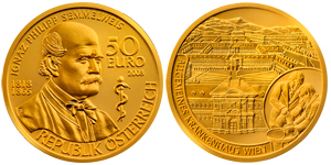 "At left, the obverse of a golden coin depicts a bust of Semmelweis as an old man, accompanied by the rod of Asclepius; it bears the inscription ""IGNAZ PHILLIP SEMMELWEIS 1818 1865 50 EURO 2008 REPUBLIK ÖSTERREICH"". At right, the reverse of the same coin depicts a birds-eye view of the General Hospital in Vienna, inscribed with the text ""ALLGEMEINES KRANKENHAUS WIEN""; this face is inset with a tableau of a doctor and student disinfecting their hands."