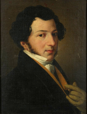 oil painting of head and torso of young white man with medium length dark hair