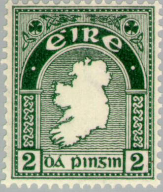 2d Map of Ireland- first Irish postage stamp