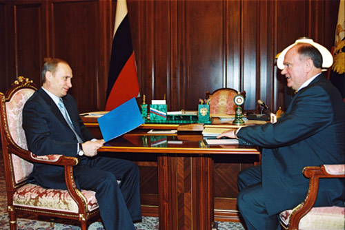 Vladimir Putin with Gennady Zyuganov 7 February 2002