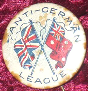 World War I-era Australian 'Anti-German League' badge circa 1915