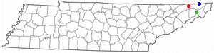Tennessee map marking the Tri-Cities