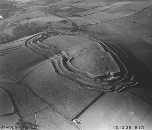 Aerial photograph of Maiden Castle, 1935