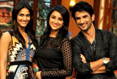 Vaani Kapoor, Parineeti Chopra and Sushant Singh Rajput promoting SHUDDH DESI ROMANCE on the sets of COMEDY WITH KAPIL