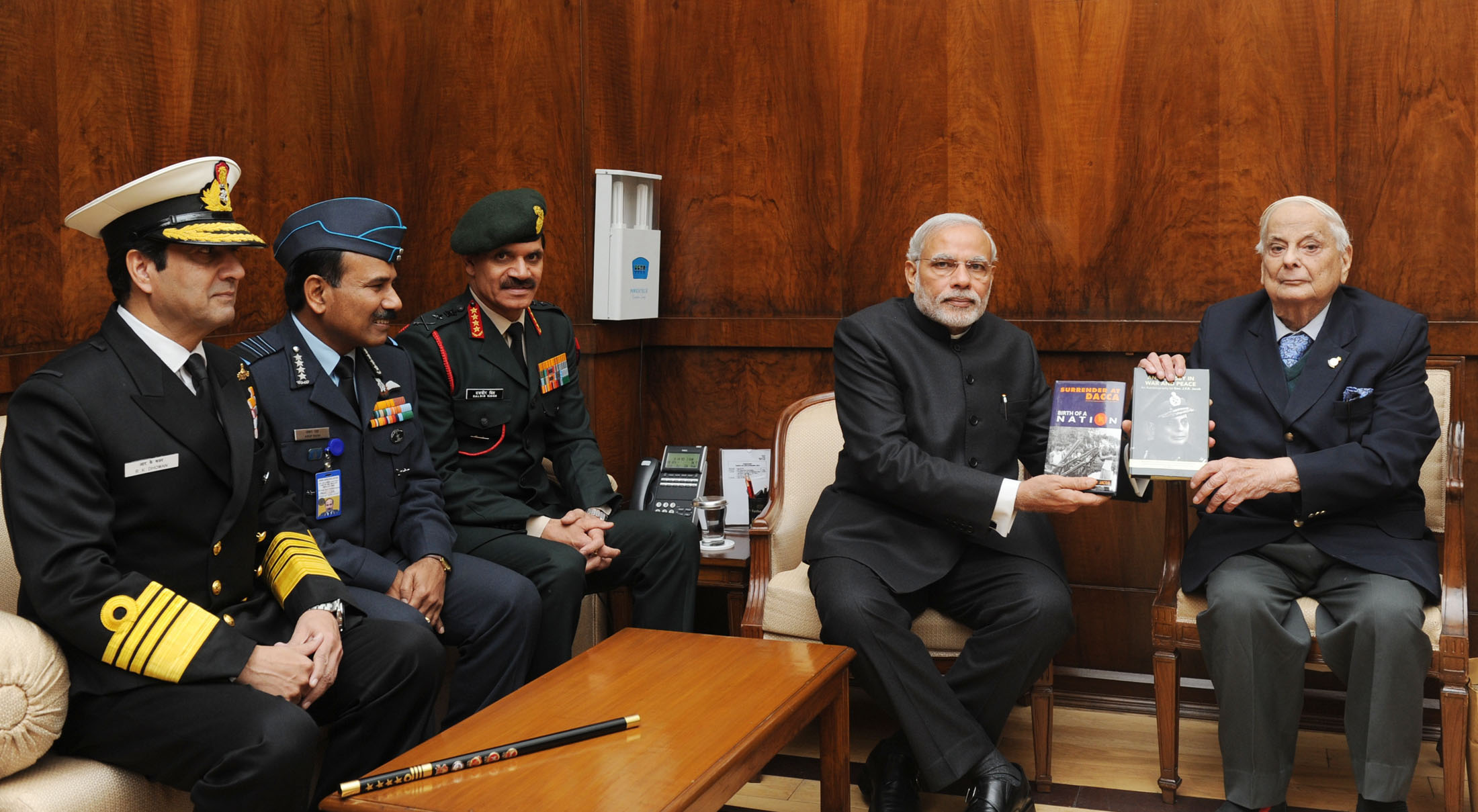 "Lt. General (Retd.) JFR Jacob presents his books ""An Odyssey in War and Peace"" and ""Surrender at Dacca"" to PM Modi"