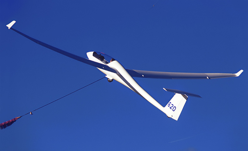 Schempp-Hirth Ventus 2b glider being launched at Lasham Airfield in UK