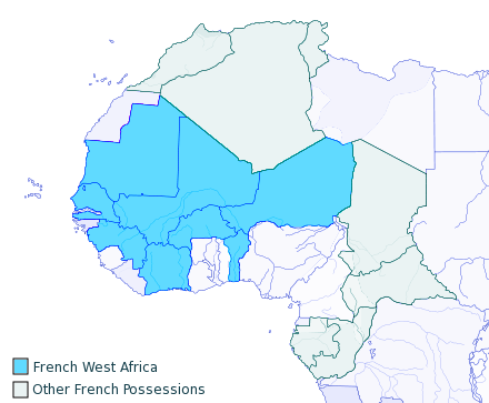 French West Africa 1913 map