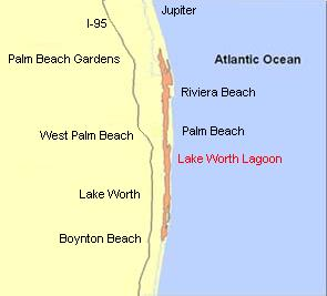 Location of Lake Worth Lagoon in Palm Beach County, Florida