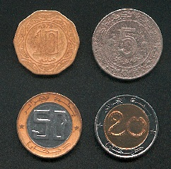 Scan of 4 Algerian coins
