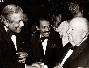 Anton Wickremasinghe, Chandran Rutnam and Alfred Hitchcock at the Academy Awards in Los Angeles