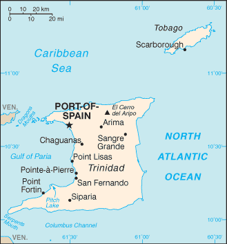 Location of Trinidad and Tobago