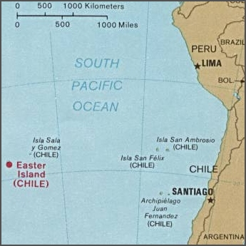 Easter island and south america
