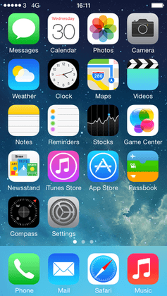 IOS 7.1 homescreen
