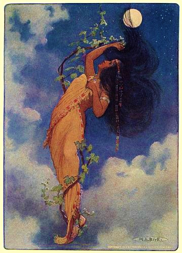 FROM THE FULL MOON FELL NOKOMIS - from The Story of Hiawatha, Adapted from Longfellow by Winston Stokes and Henry Wadsworth Longfellow - Illustrator M. L. Kirk - 1910