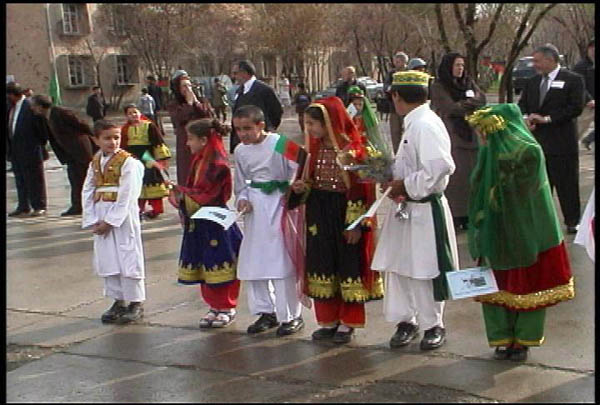 Afghan kids wearing traditional clothes in Kabul