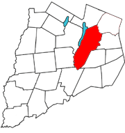 Otsego County map with the Town of Middlefield in Red