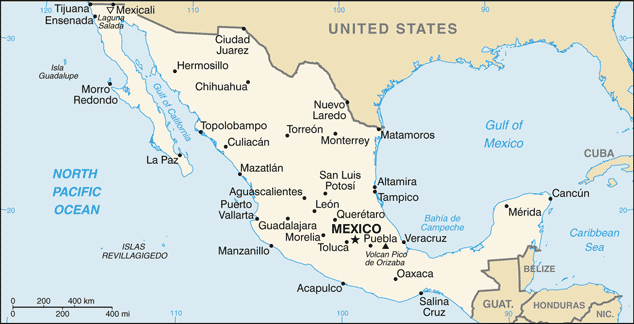 Mexico-CIA WFB Map