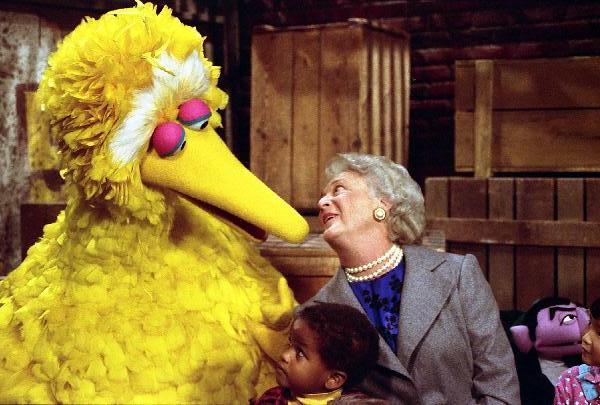Barbara Bush and Big Bird