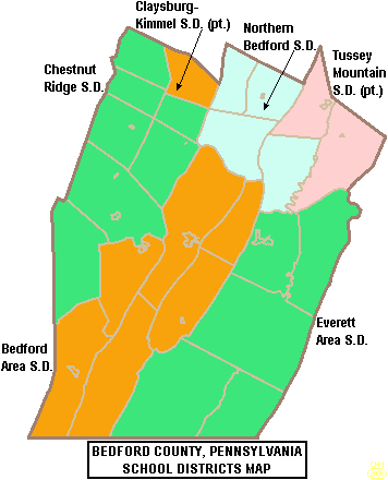 Map of Bedford County Pennsylvania School Districts