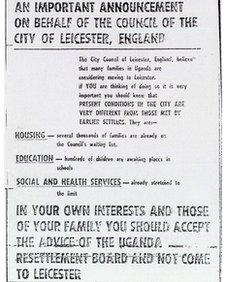 Leicester city council advert on Ugandan Argus