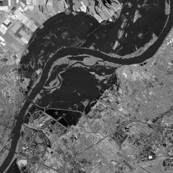 Satellite image of Missouri River during Great Flood of 1993