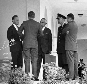 President Kennedy with advisors after EXCOMM meeting, 29 October 1962 crop