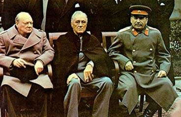 Yalta summit 1945 with Churchill, Roosevelt, Stalin tight crop