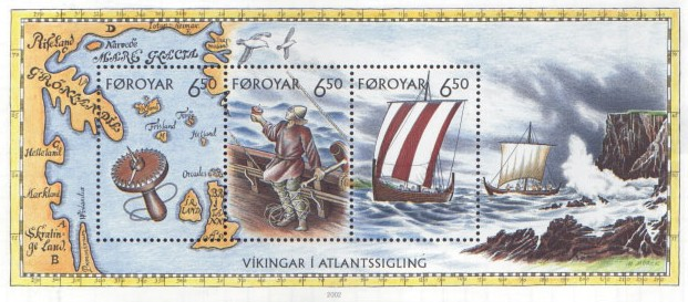 Faroe stamp sheet 406-408 viking voyages