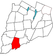 Otsego County map with the Town of Otego in Red