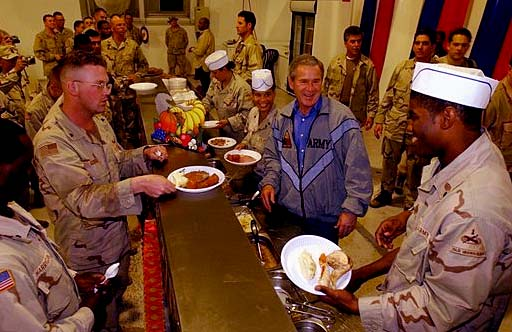 President Bush Thanksgiving Day dinner in Baghdad 2003