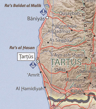 Tartus governorate - physical map