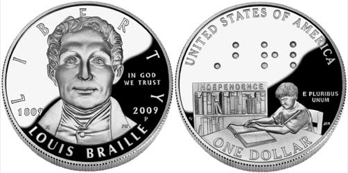 Two sides of a coin, with a portrait of Braille on the front and a child reading a braille book on the back