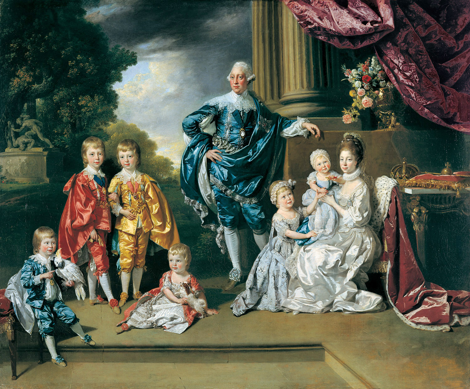 King George III and Queen Charlotte with their six eldest children