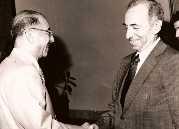 Baath Party founder Michel Aflaq with Iraqi President Ahmad Hasan al-Bakr in Baghdad in 1968