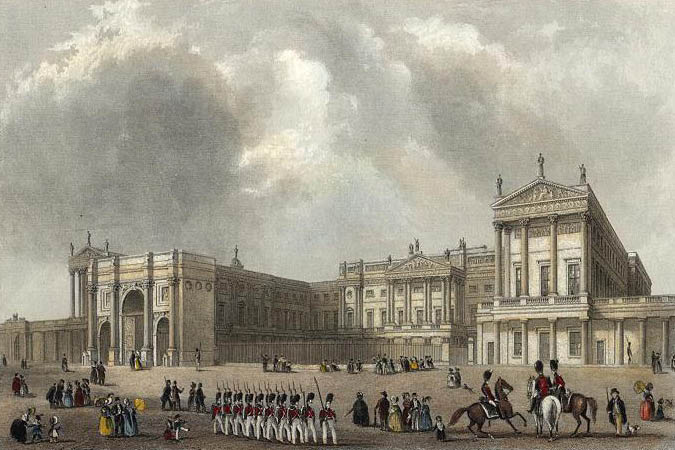 Buckingham Palace engraved by J.Woods after Hablot Browne & R.Garland publ 1837 edited
