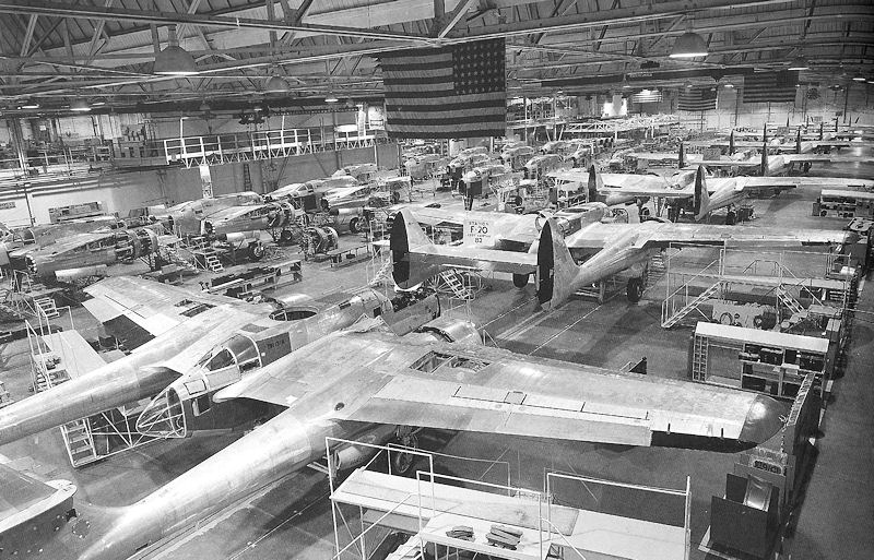 P-61s being built by Northrop Corp., Hawthorne, CA