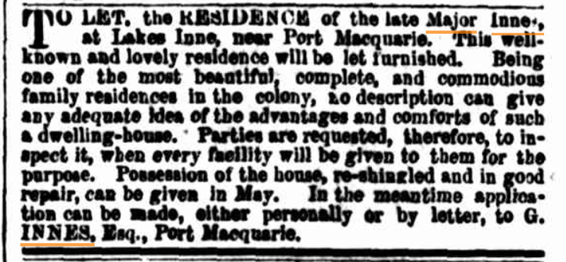 To Let Notice for Lake Innes House 1860
