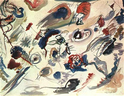 First abstract watercolor kandinsky 1910
